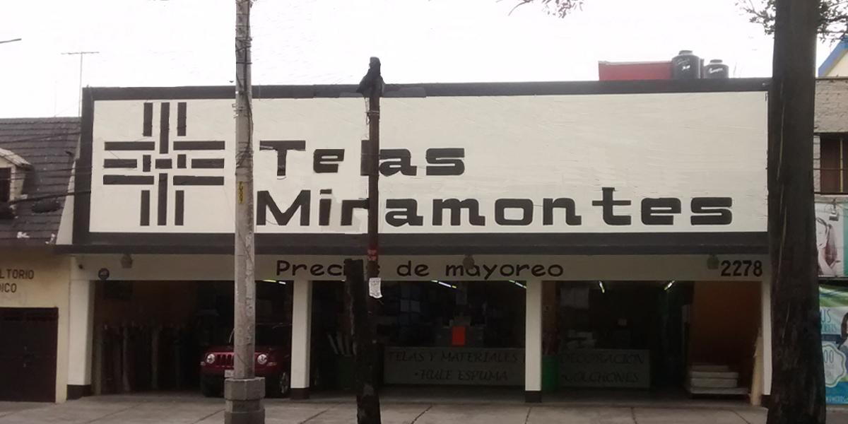Fachada de tienda de telas en Alamos, colonia Avante, CDMX, surtido por mayoreo